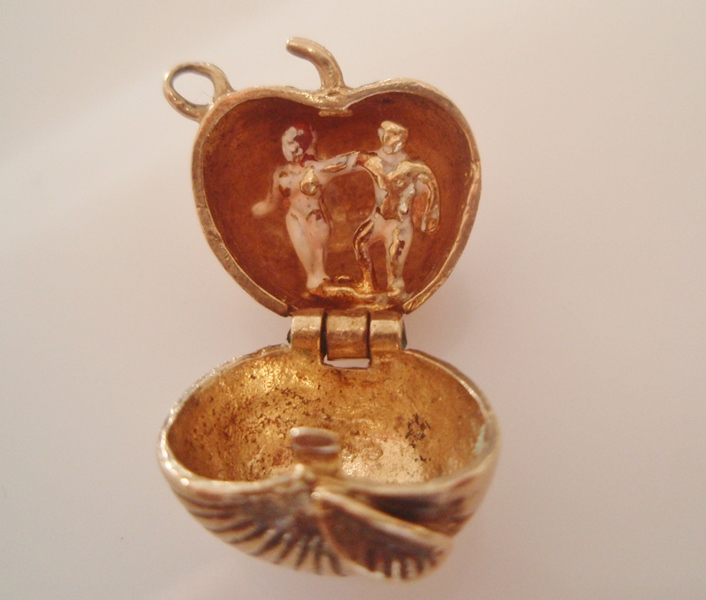 9ct Gold Adam and Eve Apple Enamel Charm