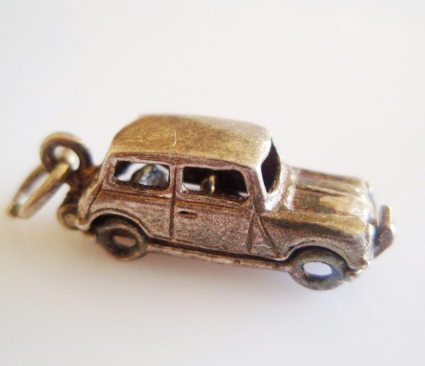 Vintage Silver NUVO Mini Car Charm Opens