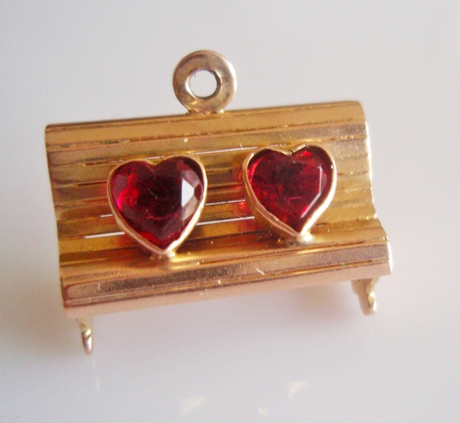 9ct Gold Love Seat Bench with Red Gem Set Hearts Charm